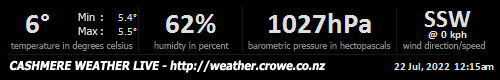 Cashmere Weather Live, Christchurch, New Zealand